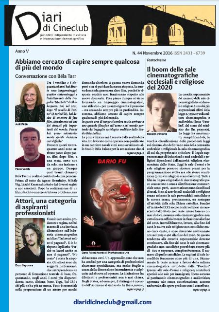 ONLINE IL NUMERO 44 – NOVEMBRE 2016 DI DIARI DI CINECLUB