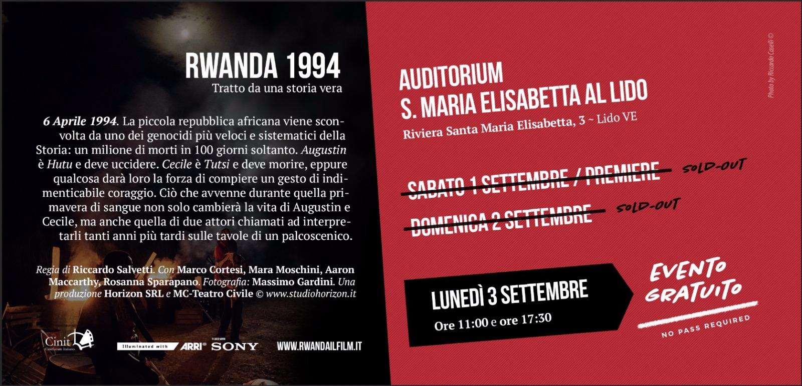 Proiezione del film Rwanda all'Auditorium Santa Maria Elisabetta al Lido di Venezia