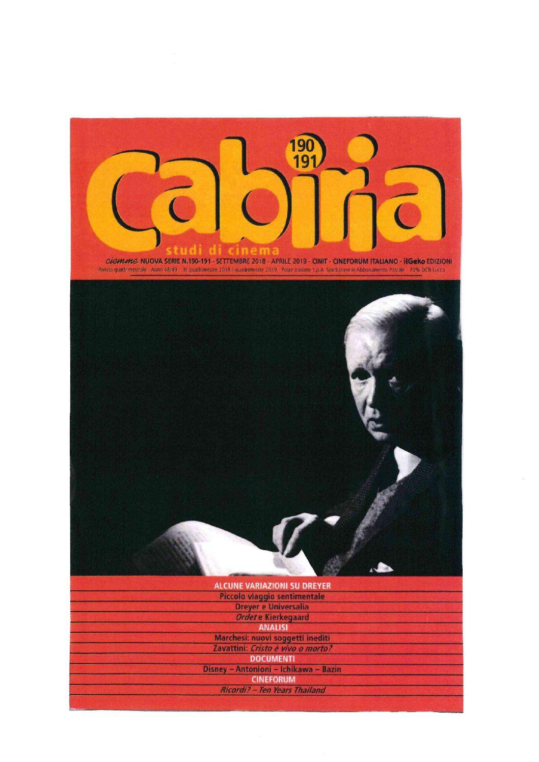 Dedicato a Dreyer il laboratorio del n. 191-192 di Cabiria studi di cinema