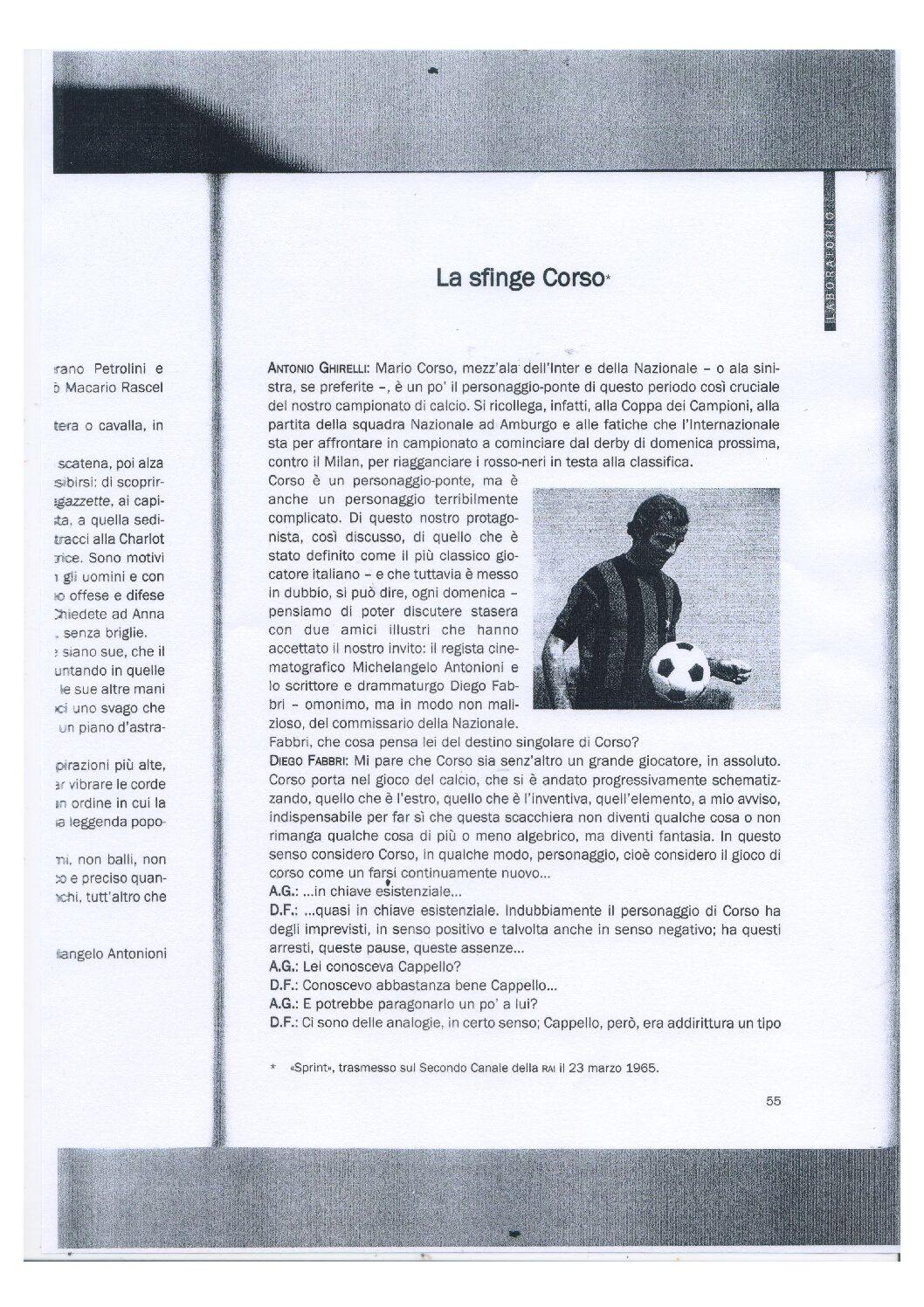 La sfinge Mario Corso in un'intervista ad Antonioni pubblicata su Cabiria