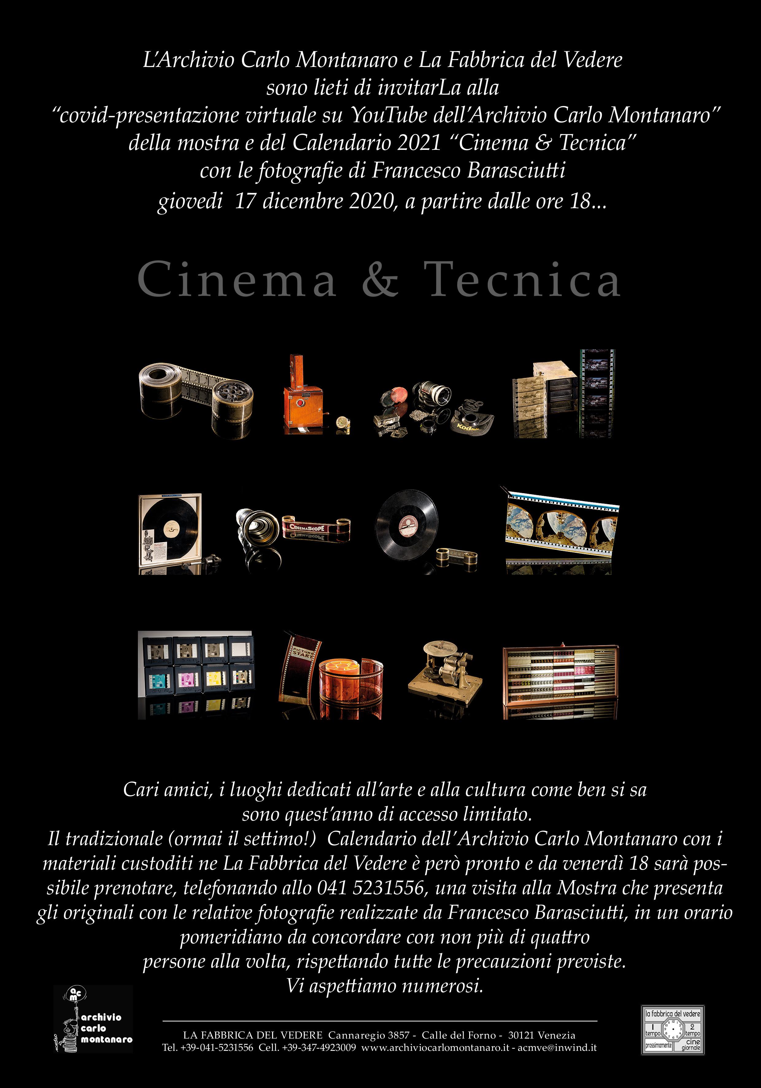 Cinema&Tecnica nel calendario 2021 della Fabbrica del Vedere