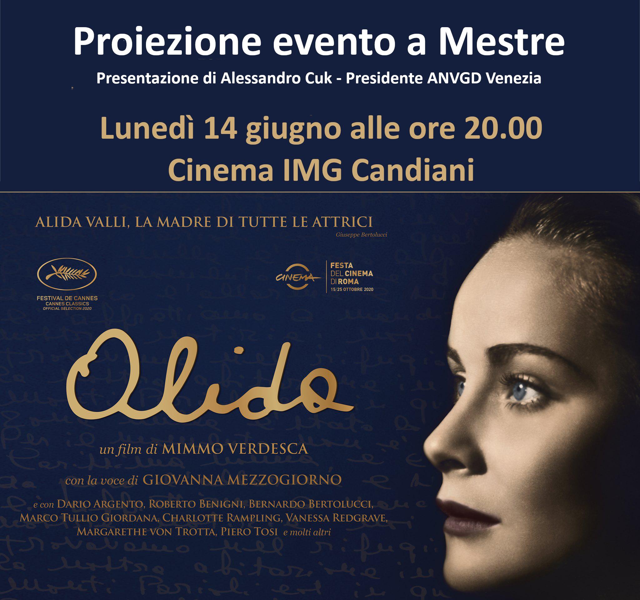 """Proiezione del film """"Alida"""" al cinema IMG Candiani di Mestre"""