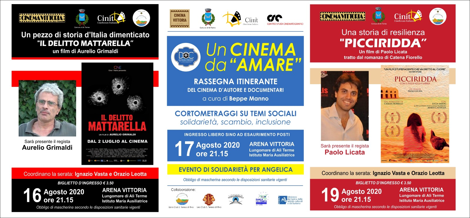 Tre serate di agosto all'Arena di Alì Terme con cinema di qualità alla presenza di registi ed esperti su temi di storia e di solidarietà